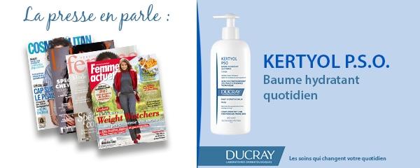 La presse parle de Ducray : Baume hydratant quotidien Kertyol P.S.O